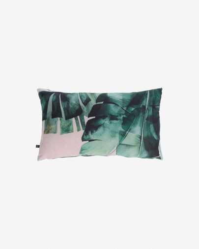 Hermie cushion cover with green leaves 30 x 50 cm