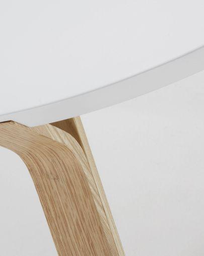 Mesa de centro Dilos madera maciza de fresno y lacado blanco Ø 90 cm