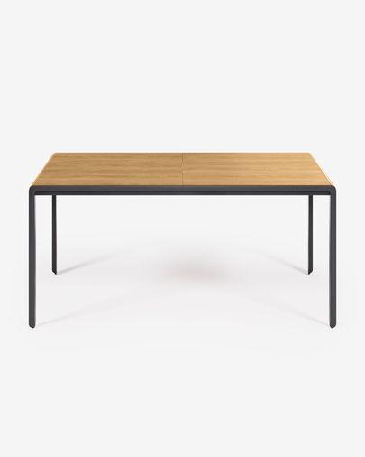 Tavolo estensibile Nadyria appoggio in legno di quercia e gambe in acciaio 160 (200) x 90