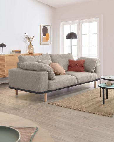 Sofa 3-osobowa Noa beżowa nogi wykończenie naturalne 230 cm