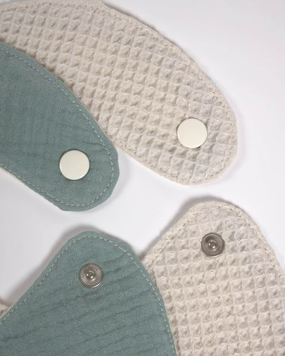 Set of two 100% organic cotton (GOTS) Lupe bibs in beige and turquoise