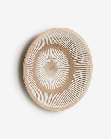 Melisa solid munggur wood wall panel with white striped Ø 49 cm