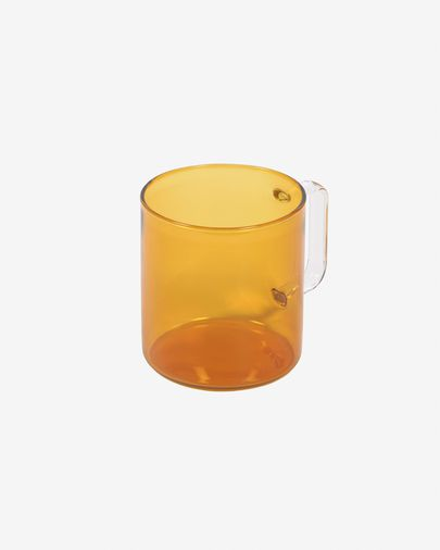 Coralie orange and transparent glass cup