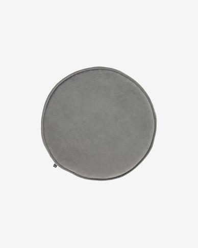 Rimca round velvet chair cushion in light grey, 35 cm