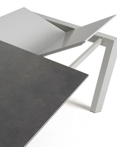 Axis uitschuifbare tafel 120 (180) cm porselein afwerking Vulcano Roca grijs benen