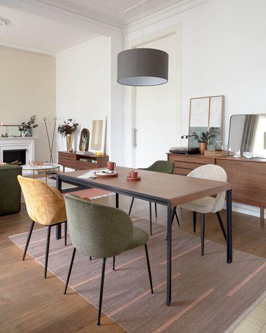 Table extensible Nadyria en contreplaqué de noyer et pieds en acier noir 160 (200) x 90 cm
