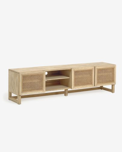 Rexit solid mindi wood and veneer TV stand with rattan 180 x 50 cm