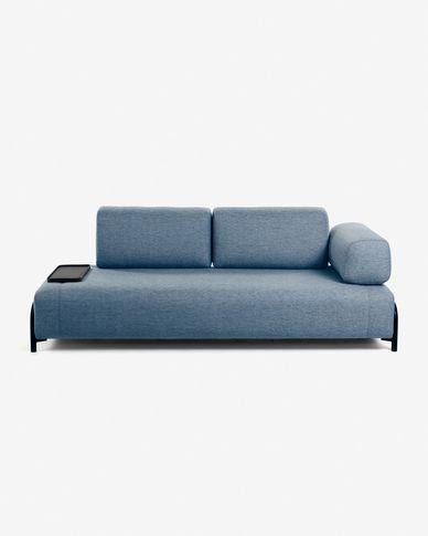 Compo bank 3 zetels blauw met kleine lade 232 cm