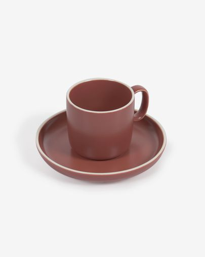 Roperta porcelain coffee cup and saucer in terracotta