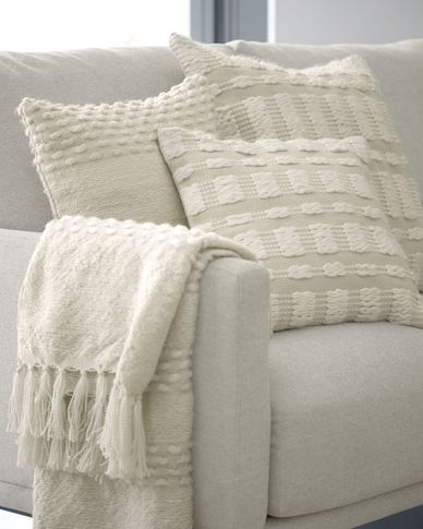 Funda cojín Aima beige y blanco 60 x 60 cm