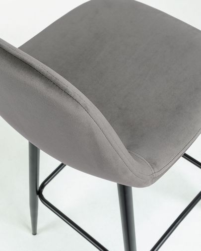 Grey fabric Nolite barstool height 75 cm