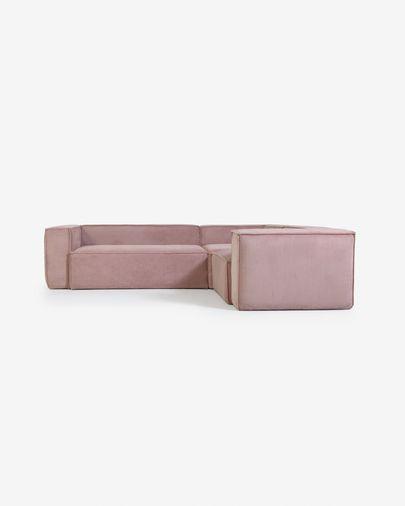 3-zits hoekbank Blok van roze corduroy 290 x 230 cm