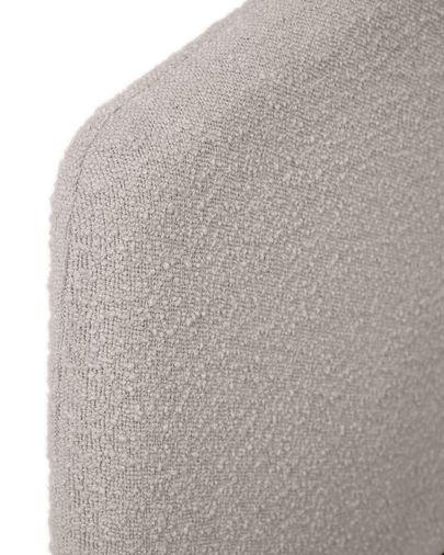 Cama Dyla de borrego gris claro y patas de madera maciza de haya 160 x 200 cm