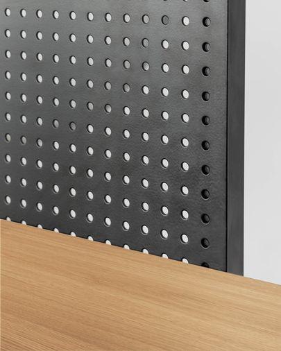 Estantería Nadyria chapa de roble y acero acabado negro 100 x 180 cm