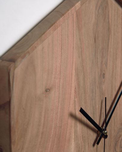 Reloj de pared hexagonal Zakie de madera maciza de acacia acabado natural 35 x 35 cm