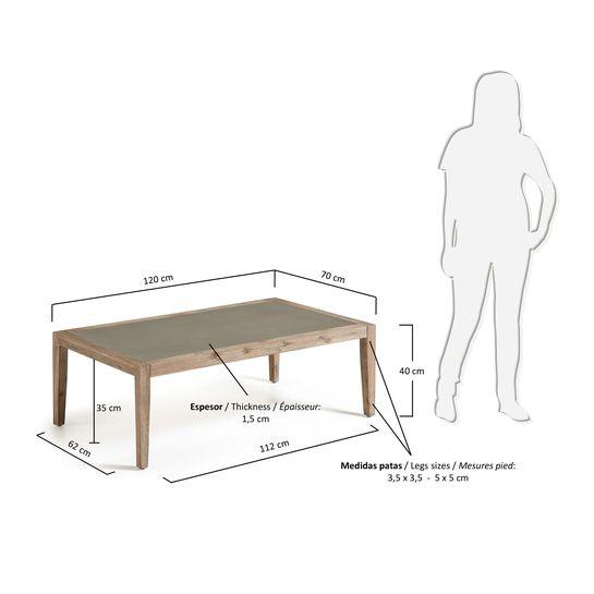 Mesa de centro Vetter 120 x 70 cm acabado polycemento y madera maciza de eucalipto - tamaños