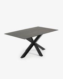 Argo tafel 180 cm porselein  afwerking Iron Moss zwarte benen