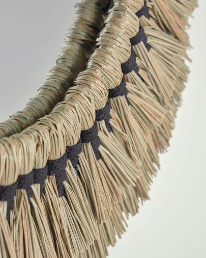 Espejo redondo Akila fibras naturales beige y cuerda algodón negro Ø 60 cm