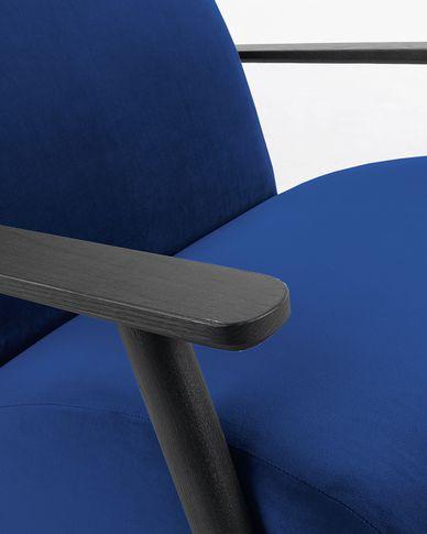Meghan Sessel Samt mit blauer und massiven Eschenholzbeinen mit Wenge-Finish