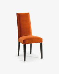 Orange velvet and black Freda chair