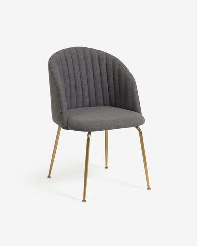 Cadira Lumina gris fosc potes acer acabat daurat