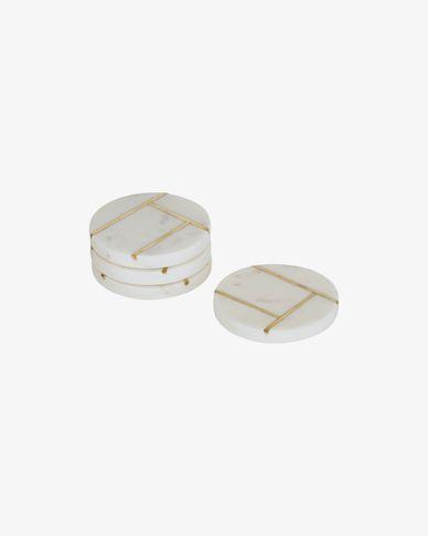 Lot Tahis de 4 dessous de verre en marbre blanc