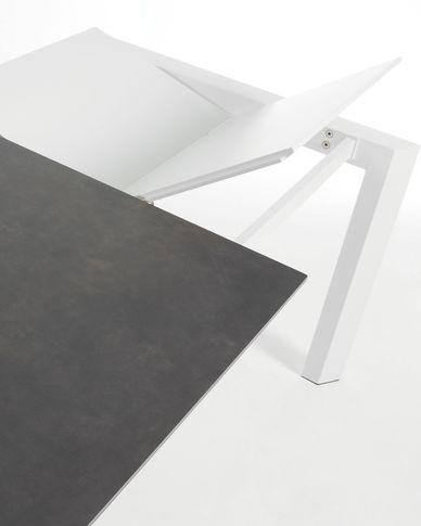 Axis uitschuifbare tafel 140 (200) cm porselein afwerking Vulcano Roca wit benen