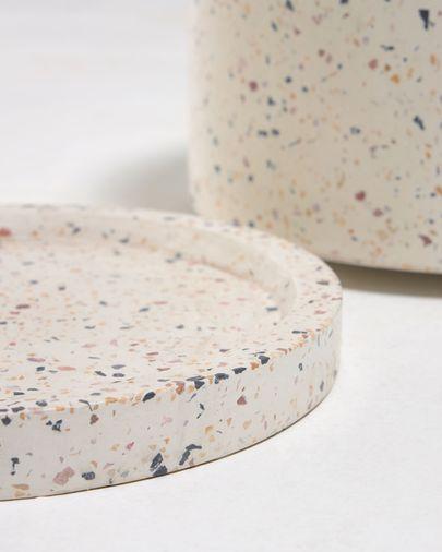 Vaso Lelis com prato terrazzo branco de Ø 26 cm