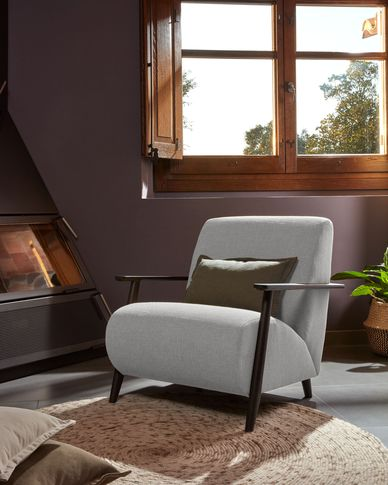Meghan armchair in grey with solid ash legs with wenge finish