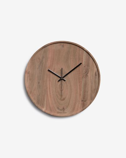 Zakie round wall clock in solid acacia wood with natural finish Ø 30 cm
