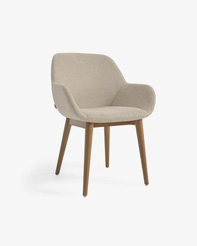 Cadeira Konna bege pernas de madeira maciça de freixo