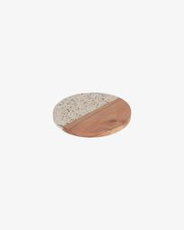 Verna round wood and terrazzo serving board