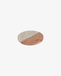 Verna serveerplank rond hout en wit terrazzo