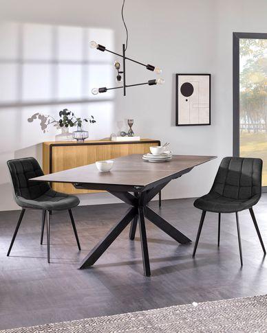Atminda ausziehbarer Tisch 160 (210) x 90 cm Feinsteinzeugplatte und schwarze Stahlbeine