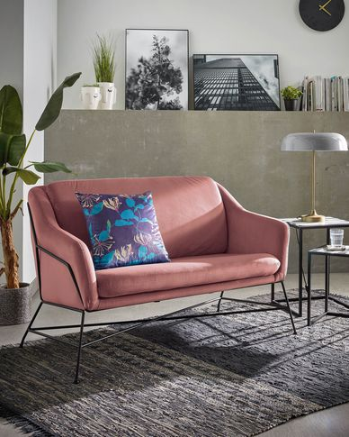 Brida 2-seater sofa in pink velvet 128 cm