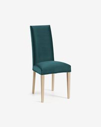 Turquoise velvet and natural Freda chair