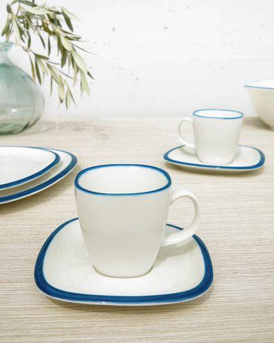 Kubek z talerzykiem Odalin porcelana biało-niebieska