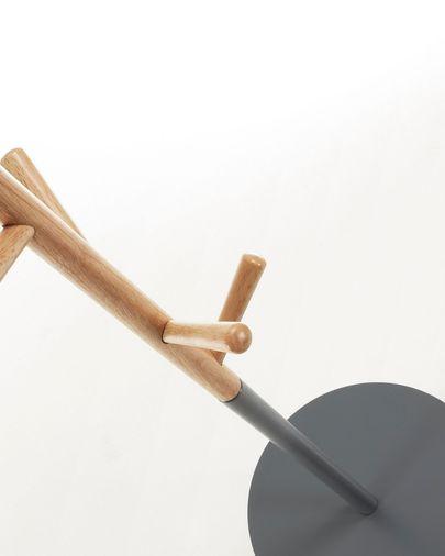 Perchero bandeja Nerb madera lacada gris y madera de caucho 40 x 170 cm FSC MIX Credit