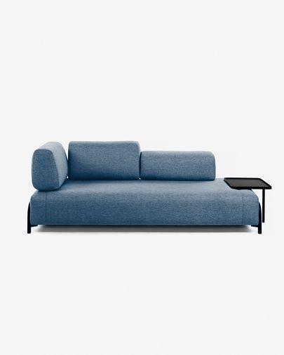 Sofá Compo de 3 lugares azul com tabuleiro bege grande 252 cm