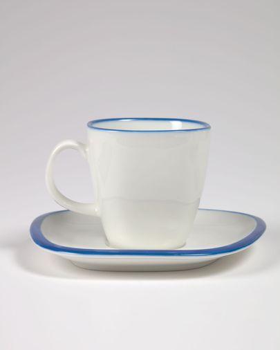 Tassa amb plat Odalin porcellana blanca i blava