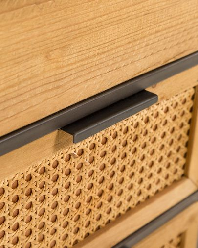 Aparador Kyoko 120 x 75 cm de madera maciza de abeto mimbre y acero