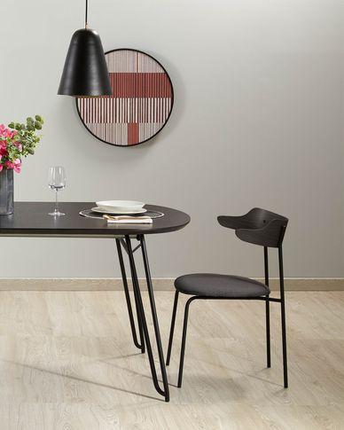 Milian ausziehbarer Tisch 170 (320) x 100 cm Eschenfurnier und schwarze Stahlbeine