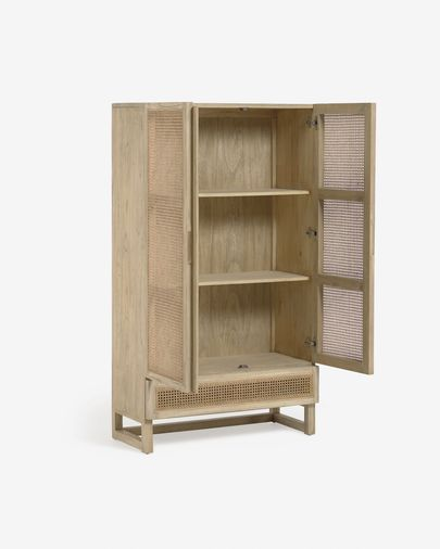 Rexit solid mindi wood and veneer wardrobe with rattan 90 x 160 cm