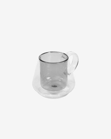 Tazza piccola Kimey in vetro trasparente e grigio