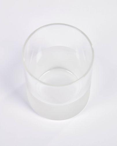 Vaso pequeño Lilli de vidrio transparente y blanco