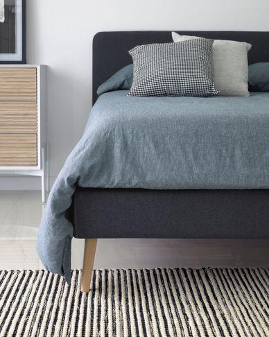 Dyla Bett aus anthrazit und Beinen aus massivem Buchenholz 160 x 200 cm