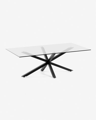 Table basse Argon 130 x 70 cm verre pieds noir