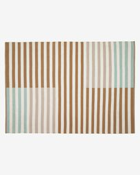 Aien multi-coloured striped PET mat