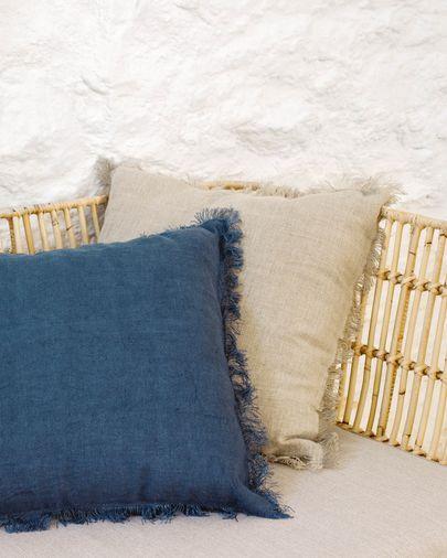 Almira Kissenbezug Baumwolle blau und Leinen mit Fransen 45 x 45 cm