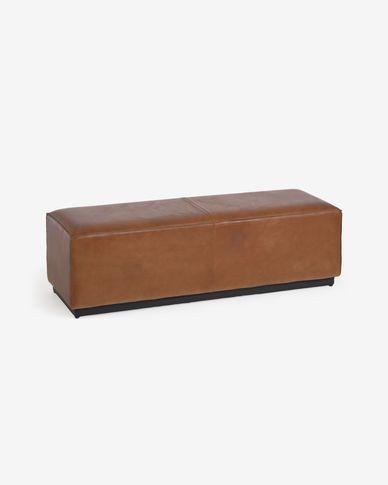 Banquette Cesia en cuir de buffle marron 120 cm avec pied en bois